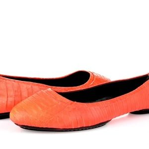 RACHEL ROY Coral Leather Ballet Flats